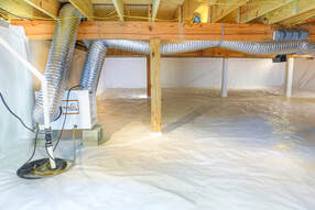crawlspace in raleigh with vapor barrier installation